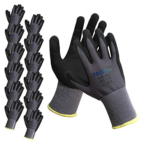 Nitrile Coated Work Gloves, Micro-Foam Grip Gloves Nitrile Coated On Palm Working Gloves (9/L, 12 Pair) - Foam Nitrile Gloves