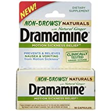 Dramamine Non-Drowsy Naturals with Natural Ginger, 18 Count by Dramamine