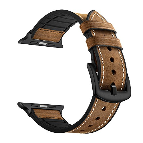 Leather Band for Apple Watch Band 38mm 42mm Soft Silicone Sport Bands with Stainless Metal Buckle Clasp iwatch Series 1 2 3 Replacement Strap (Dark Brown Leather Band)
