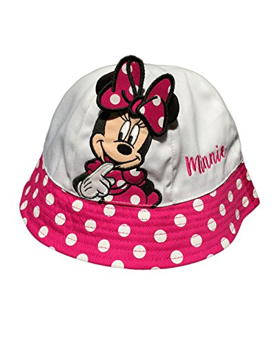 Minnie Mouse Baby Girls Toddler Sun Bucket Hat, White/Pink]()