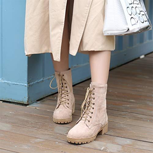 Mujer DEDE Botas Cordones cómodas Grandes y Bajas y de Informales Botas Zapatos Sandalette Mujer con Camel Botas para 0n0dS4H