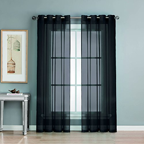 Window Elements Diamond Sheer Voile Extra Wide 56 x 90 in. Grommet Curtain Panel, Black (Window Covering Ideas)