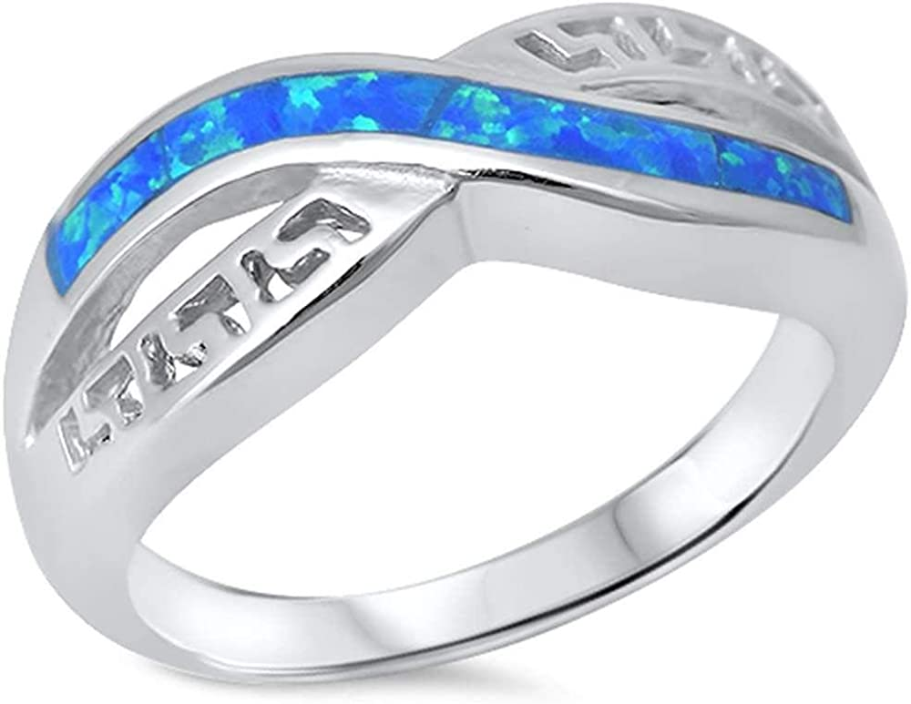 Princess Kylie Synthetic Blue Opal Infinity Band Ring Sterling Silver