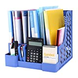 CRUODA Desktop Documents 4 Compartment, File Rack, Office Desk Shelf, Blue, for Documents, Magazines, Notebooks