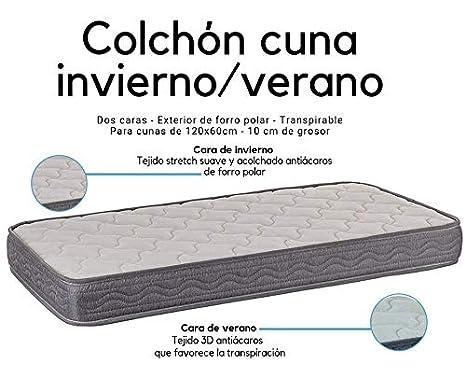 Colchon espuma 120x60 cm Alta densidad Dos Caras Invierno-Verano Transpirable Desenfundable Fabricado en España