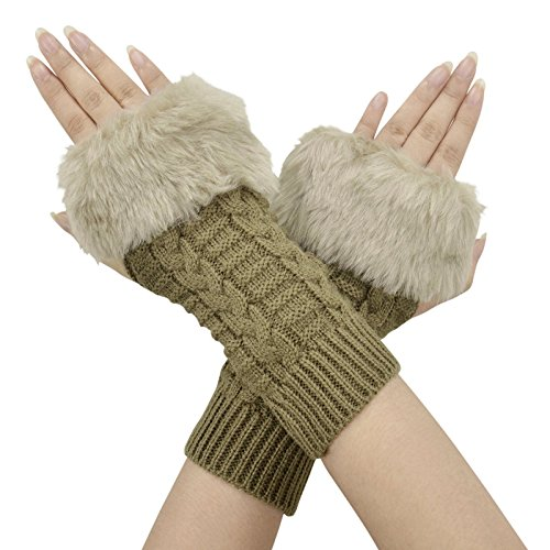 rmer Women Faux Knitted Hand Wrist Fingerless Gloves, Khaki3,One Size ()