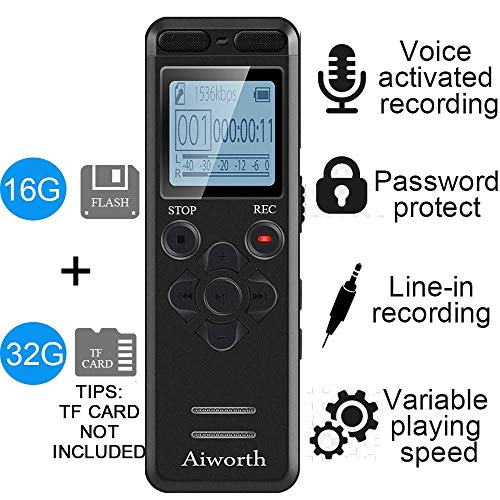 16GB Digital Voice Activated Recorder for Lectures - aiworth 1160 Hours Sound Audio Recorder Dictaphone Voice Activated Recorder Recording Device with Playback,MP3 Player,Password,Variable Speed (Best Recording Device For College Lectures)