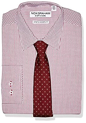 Nick Graham Men's Stretch Modern Fit Plaid Dress Shirt and Dot Tie Set