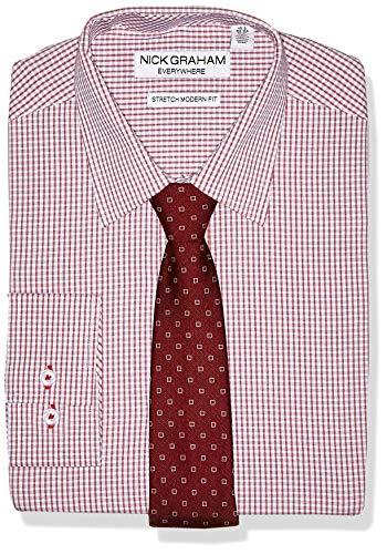 Tie Dress Modern (Nick Graham Men's Stretch Modern Fit Plaid Dress Shirt and Dot Tie Set, Berry XL-L 17-17.5/34-35)