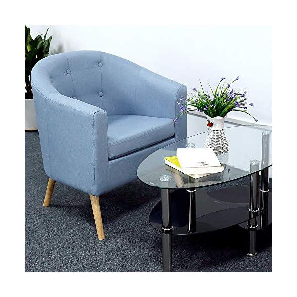Fauteuils Scandinave pour Salle à Manger/Salon/Bureau/Réception/Café, Canapé en Lin (Bleu, 79x64x50cm)