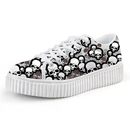 Bones Platform Sneaker (HUGS IDEA Retro Skeleton Bone Skull Platform Sneakers Punk Steet Skate Shoe For Women Men US9)