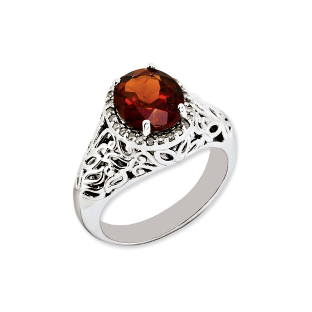 Oval Cut Garnet & .13 Ctw (H-I Color, I2-I3 Clarity) Diamond Sterling Silver Ring, Size 10