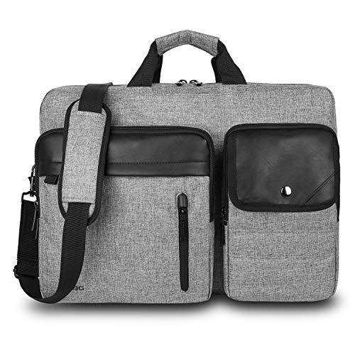 Convertible Backpack Messenger Bag 17.3 Inch Laptop Shoulder Bag Expendable Business Briefcase Extra Large Multi-Functional Travel Computer Bag for Men,Gray
