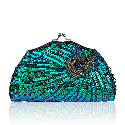 Handbag Wedding Beaded Clutch Peacock Bag Soirée Paillettes à Shoulder femme bandoulière Vintage Wanfor Bleu pour Sac wHxqU6T6