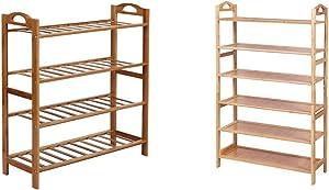 SONGMICS Bamboo Shoe Rack Shelf Storage Organizer for Hallway Bathroom Garden, 4-tier, Fresh Maple & Shoe Rack, 6-tier, Fresh Maple