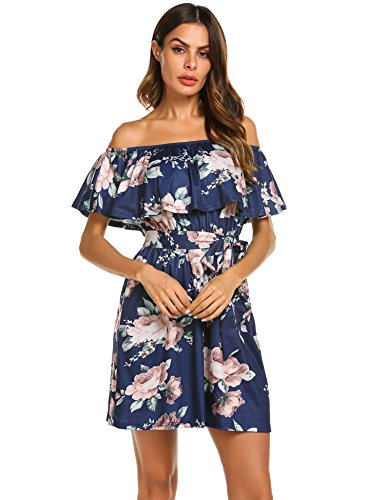 Casual Blue1 Ruffles Women's OURS Dress Mini Shoulder Party Dress Pleated Short Floral Off x07dq0