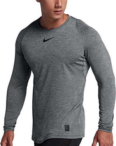 NIKE Mens Pro Low-Rise Fitted Top (Carbon Heather/Black/Black, Large, Large)