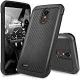 For LG Stylo 3 Case, For LG Stylo 3 Plus Case, TJS Premium Dual Layer Hybrid Shock Absorbing Impact Resistant Rugged Slim Armor Case Cover with Carbon Fiber Back with Hard TPU Inner Layer (Black)