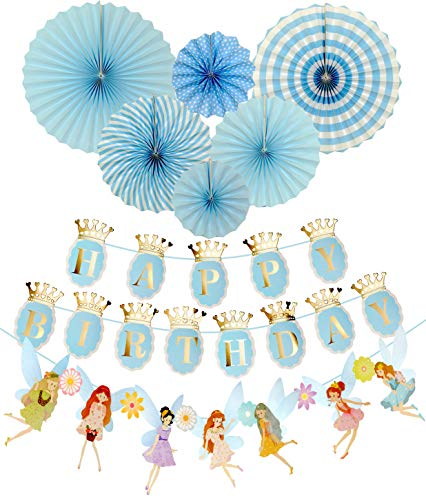 Fairy Birthday Decoration | Flower Fairies Birthday Banner | Blue Happy Birthday Banner | Blue and Gold Birthday Party Decorations | Fairy & Crown shape Birthday Party banners