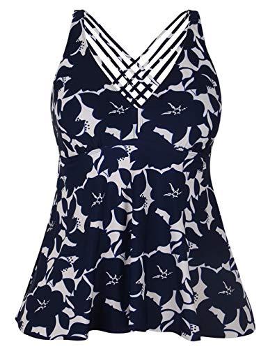 Firpearl Women's Tankini Swimsuits Cross Back Flowy Swim Tops Modest Swimwear US22 Navy Floral ()