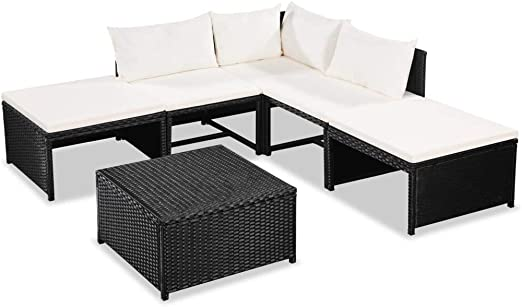 Ausla Juego de Muebles de Jardín 6 Piezas Conjunto de Muebles Ratán Sintético con Cojones de Asiento para Jardín o Patio: Amazon.es: Hogar