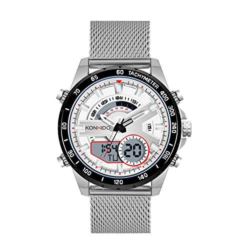 KONXIDO Wristwatches Multifunctional Digital-Analog Dual Display Men's Watch Waterproof Shockproof Quartz Sports Watch (Digital Silver Wrist Watch)