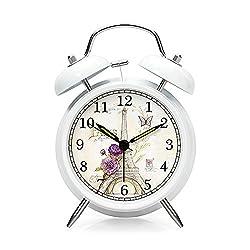 Eiffel Tower Twin Bell Alarm Clock with Nightlight White 4