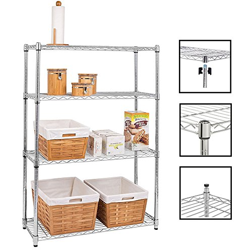 "Bonnlo 4-Tier Heavy Duty Commercial Wire Shelving Unit Adjustable Storage Rack Free Standing Garage Shelf for Home or 35.4"" L x 13.8"" W x 55"" H Inches Silver by Bonnlo"