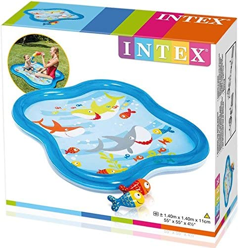Intex - Piscina hinchable he x agonal y rociador, 140 x 11 cm, 115 ...