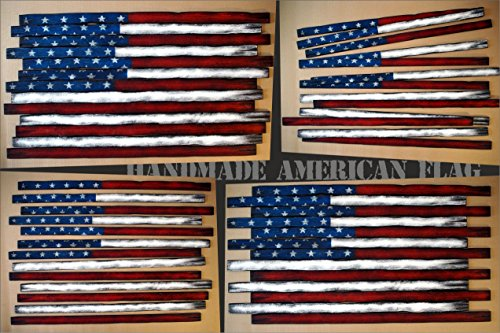 Worn out American Flag, wall decor sign | In thirteen, individual pieces of wood, so you can place and display them the way you like | Rustic decor | USA flag Wall Art by Woodcraft City