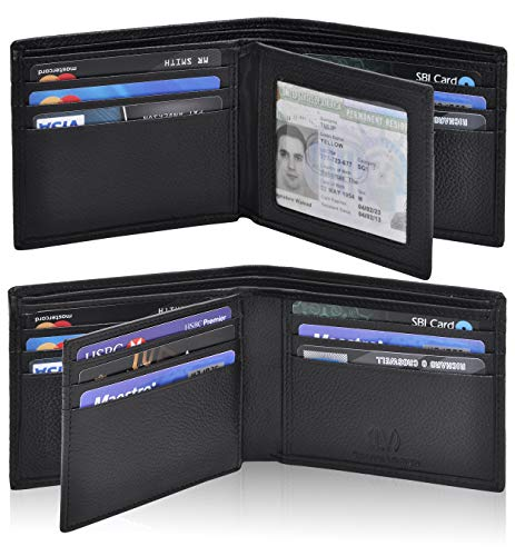 Genuine Leather RFID Blocking Handmade Multi cards Bifold Wallet for Men - Slim Mens Wallet (BLACK PEBBLE)
