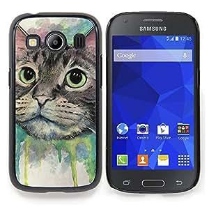 "Qstar Arte & diseño plástico duro Fundas Cover Cubre Hard Case Cover para Samsung Galaxy Ace Style LTE/ G357 (Pintura del gato feliz"")"