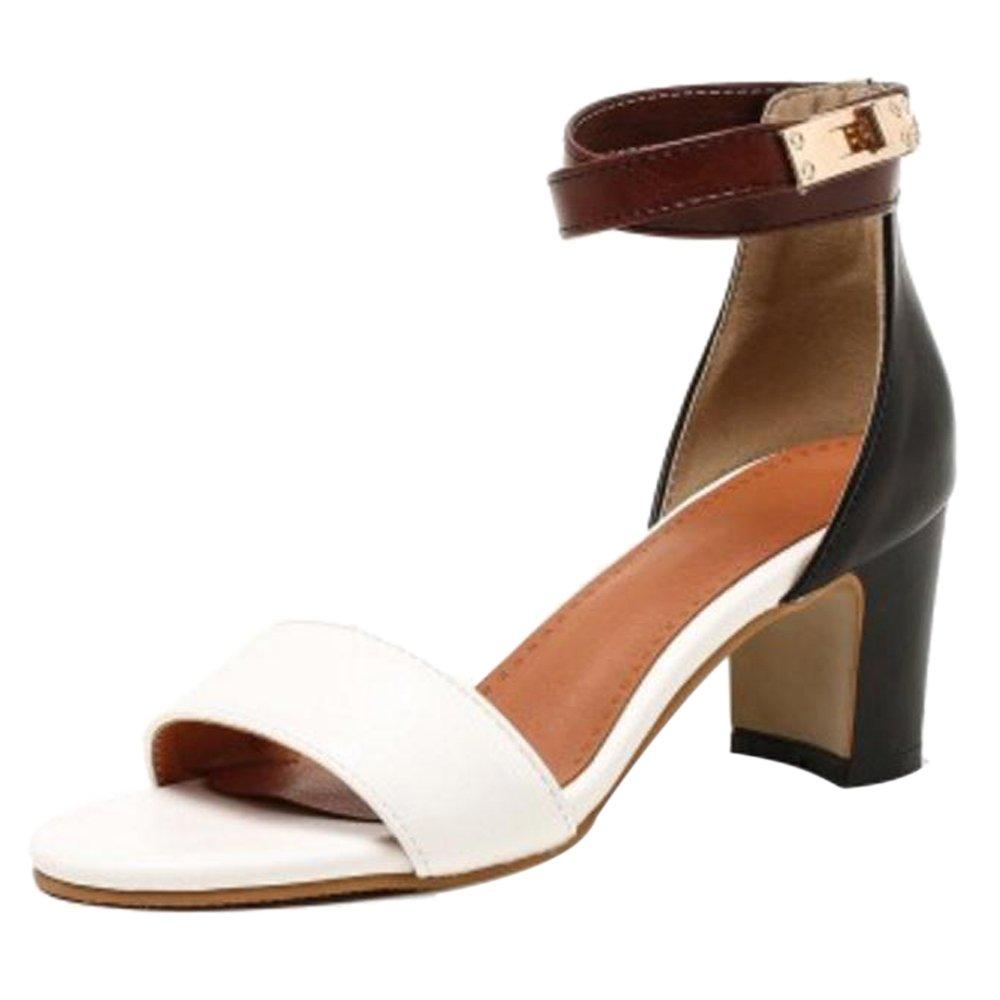TAOFFEN Damen Sandalen Schuhe mit Absatz  40.5 EU White