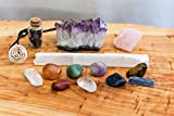 Chakra Crystal Set / Including Tumbled Stones, Raw Amethyst and Rose Quartz, For Reiki Healing, Wellness, and Meditation (14 Pieces)