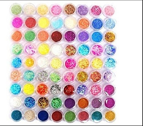XICHEN72PC nail art glitter powder dust tips decoration (72) by XICHEN