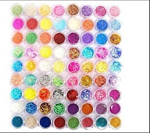 XICHEN 72PC nail art glitter powder dust tips decoration Mixing device includes a plurality of types by XICHEN