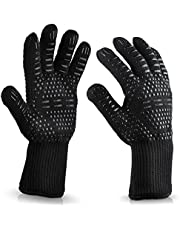 WISEWO Anti Hot Gloves,BBQ Cooking Glove 932°F Extreme Heat Resistant oven Gloves for Cooking, Grilling, Baking and Give You Extra Forearm Protection Black