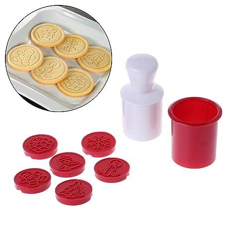 Biniwa - Juego de 6 moldes para galletas de Navidad, decoración de horno, herramienta