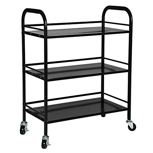 Trolley Utility (SONGMICS 3 Tiers Storage Cart Utility Trolley for Kitchen Pantry Weight Capacity 165 lbs Bathroom on Casters or Adjustable Feet Black UBSC13B)