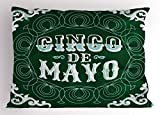 Lunarable Cinco De Mayo Pillow Sham, Ornamented Background Mexican Traditional Holiday Design, Decorative Standard King Size Printed Pillowcase, 36 X 20 inches, Forest Green Baby Blue White