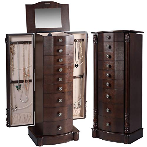 "Giantex 40"" Jewelry Armoire Chest Cabinet, Heavy Duty 17"" Wide Stand Organizer Large Storage 2 Swing Doors 16 Hook Top Mirror Boxes,Large Standing Bedroom Armoires Jewelry Cabinets w/ 8 Drawers,Walnut"