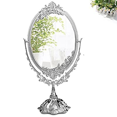KINGFOM™ Antique Two Sided Swivel Oval Desktop Vanity Makeup Mirror with Embossed Roses and Mounted Beads for Home, Jewelry or Watches Cosmetics Showcase