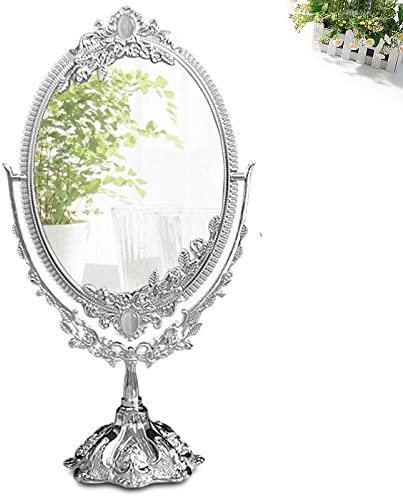 KINGFOM Antique Two Sided Swivel Oval Desktop Vanity Makeup Mirror with Embossed Roses and Mounted Beads for Home, Jewelry or Watches Cosmetics Showcase Silvery, Large