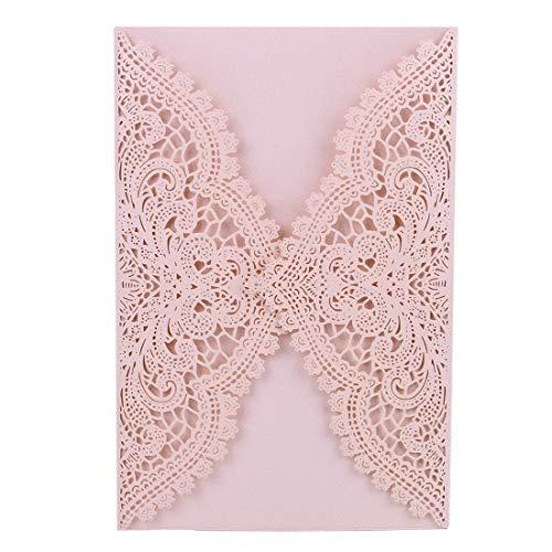 24-Pack Wedding Invitation Cards - Laser Cut Floral Design Invitation Pockets for Bridal Showers,Engagement Parties(Pink)
