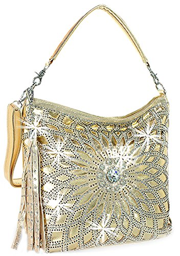 (Zzfab Starburst Rhinestone Hobo Bag with Shoulder Strap (Gold))