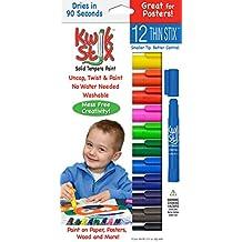 Pencil Grip Kwikstix Thin Stix Solid Tempera Paint, Super Quick Drying, 12 Classic Colors (TPG-608) Paint
