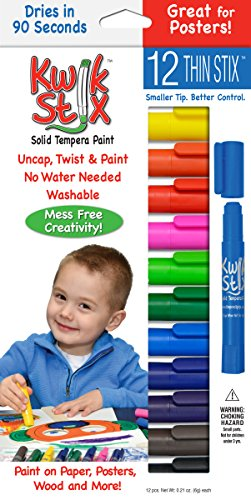 Pencil Grip Kwikstix Thin Stix Solid Tempera Paint, Super Quick Drying, 12 Classic Colors (TPG-608) Paint