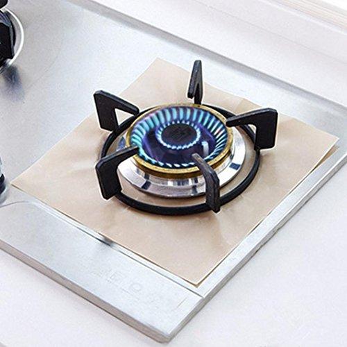 KESEE Reusable Gas Range Stovetop Burner Protector Liner Cover For Cleaning Kitchen (Beige)
