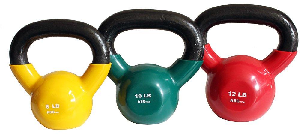 Ader Vinyl Kettlebell Set- 8, 10, 12 Lb by Ader Sporting Goods