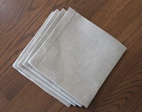 Natural Linen Napkin with Mitered Hem, Set of 4